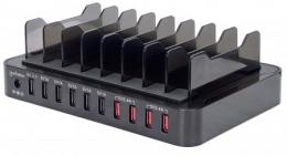10-Port USB-Ladestation MANHATTAN 76 W, 12 A, USB-Dockingstation mit Quick Charge 2.0, 8 Trennfcher