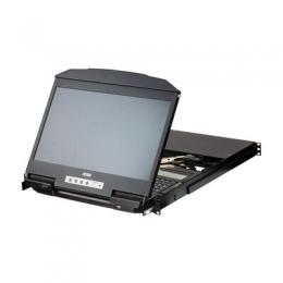 ATEN CL3884NW KVM-Konsole mit 18,5 LCD, 4-Port USB HDMI Multi-View Dual Rail WideScreen LCD KVM Switch, DE-Layout