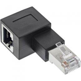 InLine RJ45 Adapter Cat.6A, RJ45 Stecker / Buchse, 90 nach links gewinkelt