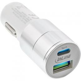 InLine USB KFZ Ladegert Stromadapter Quick Charge 3.0, 12/24VDC zu 5V DC/3A, USB-A + USB Typ-C, wei
